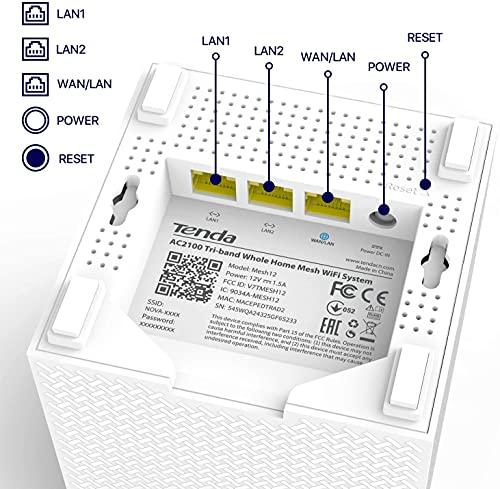 Tenda Nova MW12 WLAN Mesh-System AC2100 Tri-Band (9X Gigabit-Ports, 600m² WLAN-Abdeckung,...