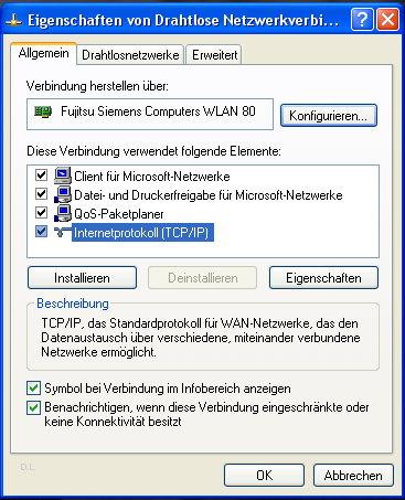 IP-Adresse manuell festlegen unter Windows XP