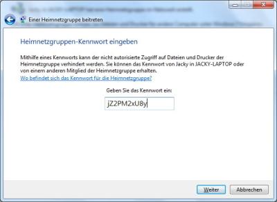 Windows 7: Einer bestehenden Heimnetzgruppe beitreten
