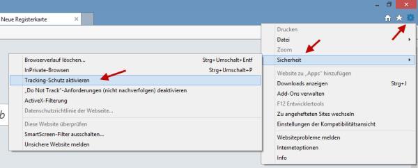 Tracking im Internet Explorer aktivieren