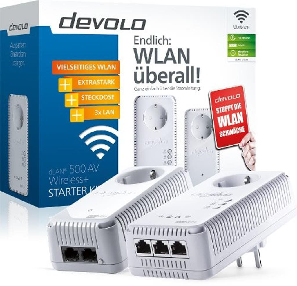 Devolo dLAN 500 AV Wireless+ Powerlan Adapter Starter Kit
