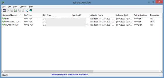 Screenshot WLAN Passwort auslesen mit WirelessKeyView