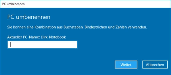 Windows 10 Computername ändern