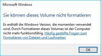 Fehlermeldung Festplatte kann nicht formatiert werden