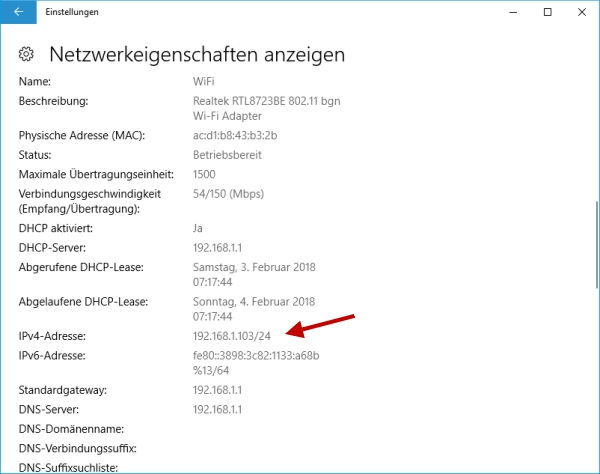 Windows 10 IP-Adresse anzeigen
