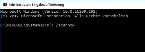 Eingabe Befehl sfc /scannow