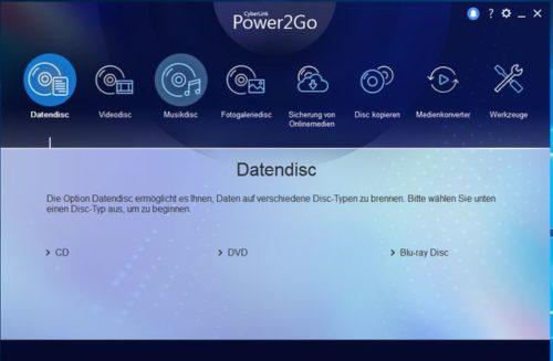 CyberLink Power2Go 12 Screenshot Datendisc