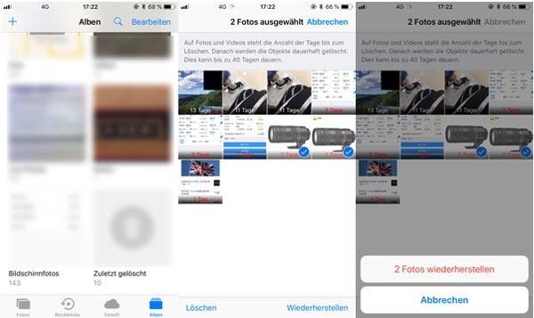 iPhone zuletzt gelöschte Fotos wiederherstellen ohne Backup