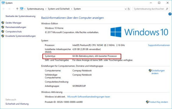 64 Bit oder 32 Bit Version von Windows installiert