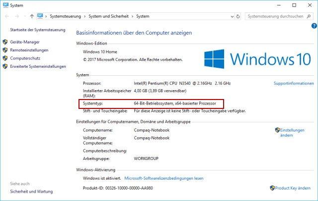 64 Bit oder 32 Bit Version von Windows installiert