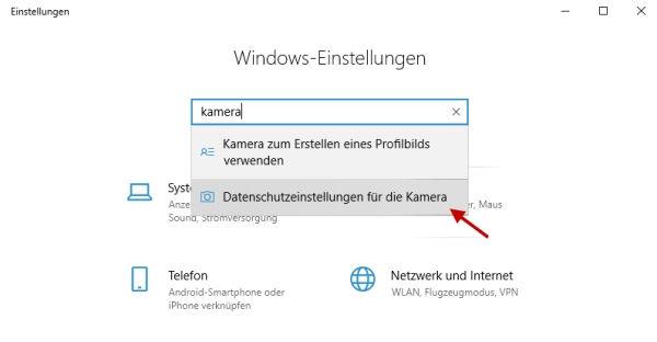 Option Datenschutzeinstellungen für die Kamera