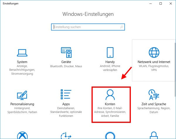 Kategorie Konten in den Windows Einstellungen