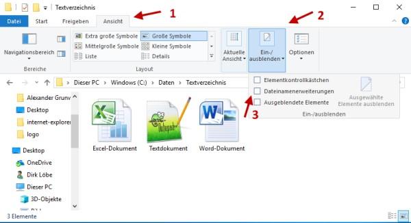 Dateinamenserweiterung ausgeblendet