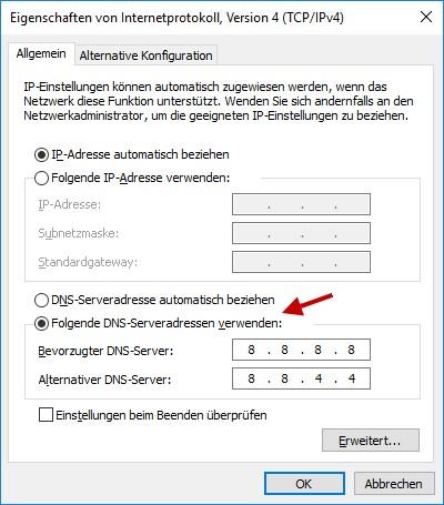 DNS Server ändern