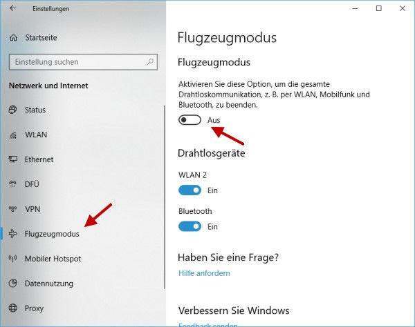 Flugzeugmodus aktivieren bei Windows