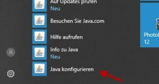 Java Konfiguration öffnen