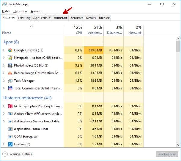 Task-Manager Ansicht volle Details