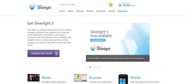 Microsoft Silverlight Screenshot Webseite